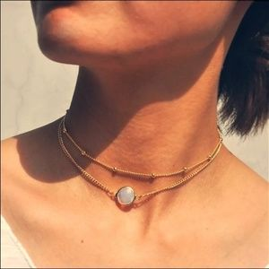Jewelry - Faux Opal Double Pendant Boho Necklace Gold